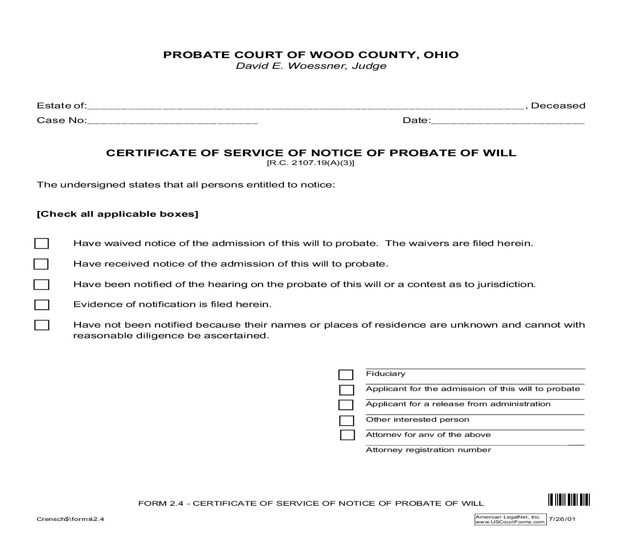 Certificate Of Service Of Notice Of Probate Of Will {2.4}   Pdf Fpdf Doc Docx   Ohio