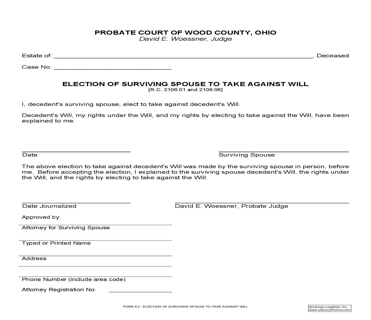 Election Of Survivng Spouse To Take Against Will {8.2} | Pdf Fpdf Doc Docx | Ohio