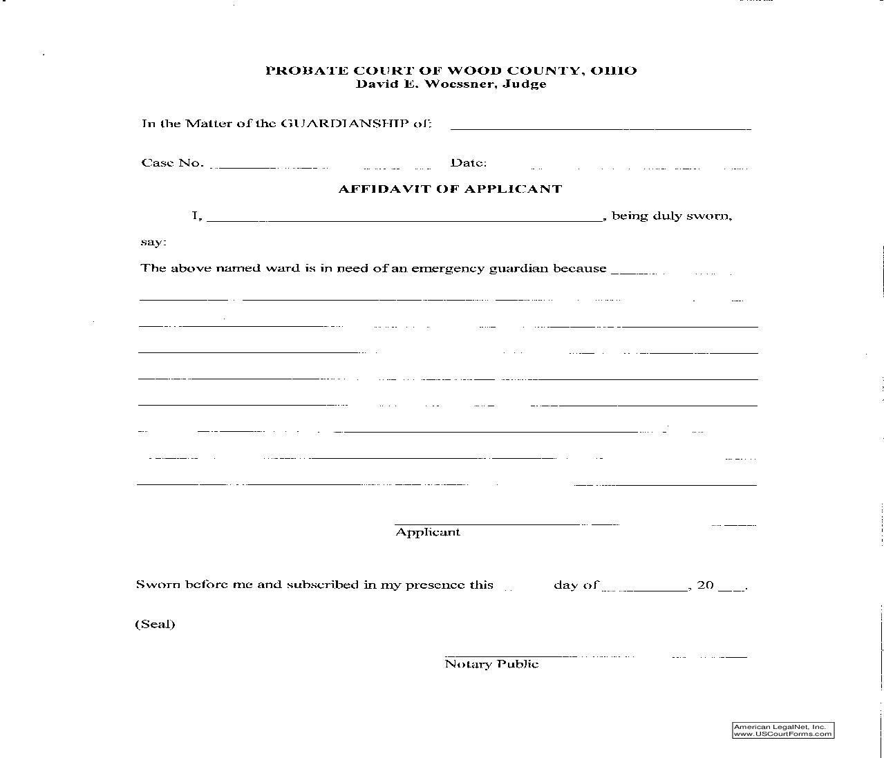 Affidavit Of Applicant | Pdf Fpdf Doc Docx | Ohio