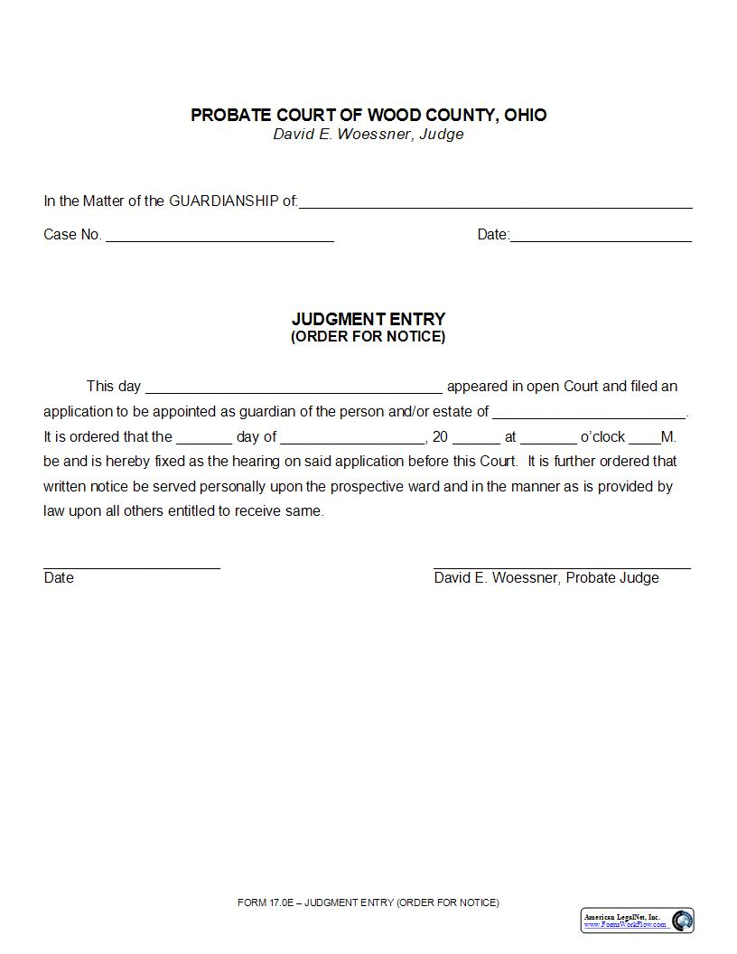 Judgment Entry (Order For Notice) {17.0E} | Pdf Fpdf Doc Docx | Ohio