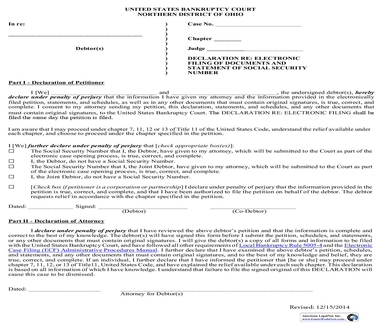 Declaration Re Electronic Filing Of Documents And Statement Of Social Security Number | Pdf Fpdf Doc Docx | Ohio