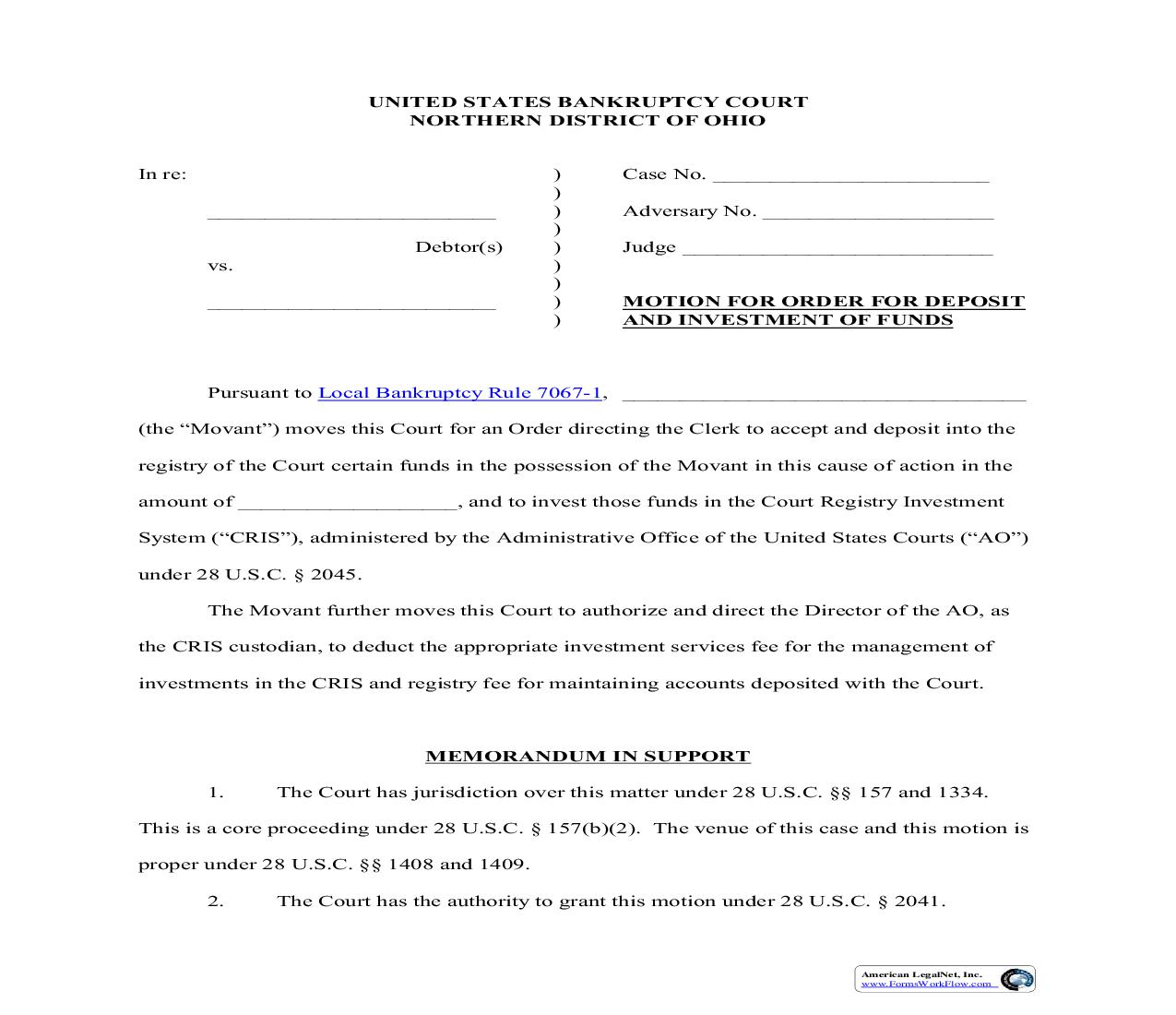 Motion For Order For Deposit And Investment Of Funds | Pdf Fpdf Doc Docx | Ohio
