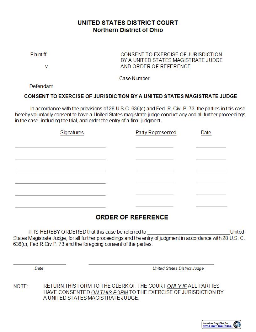 Consent To Exercise Of Jurisdiction By A United States Magistrate Judge | Pdf Fpdf Doc Docx | Ohio