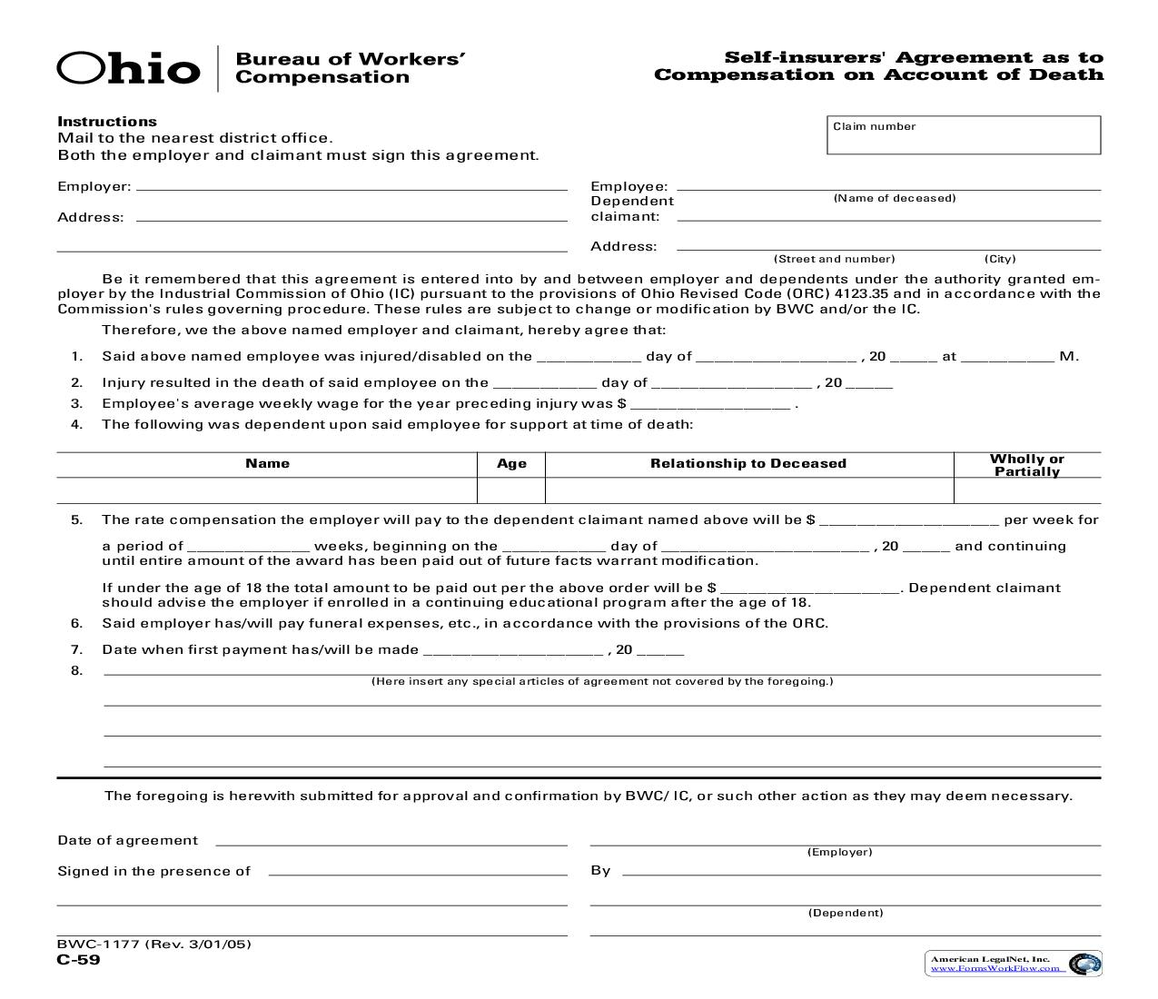Self Insurers Agreement As To Compensation On Account Of Death {BWC-1177} | Pdf Fpdf Doc Docx | Ohio