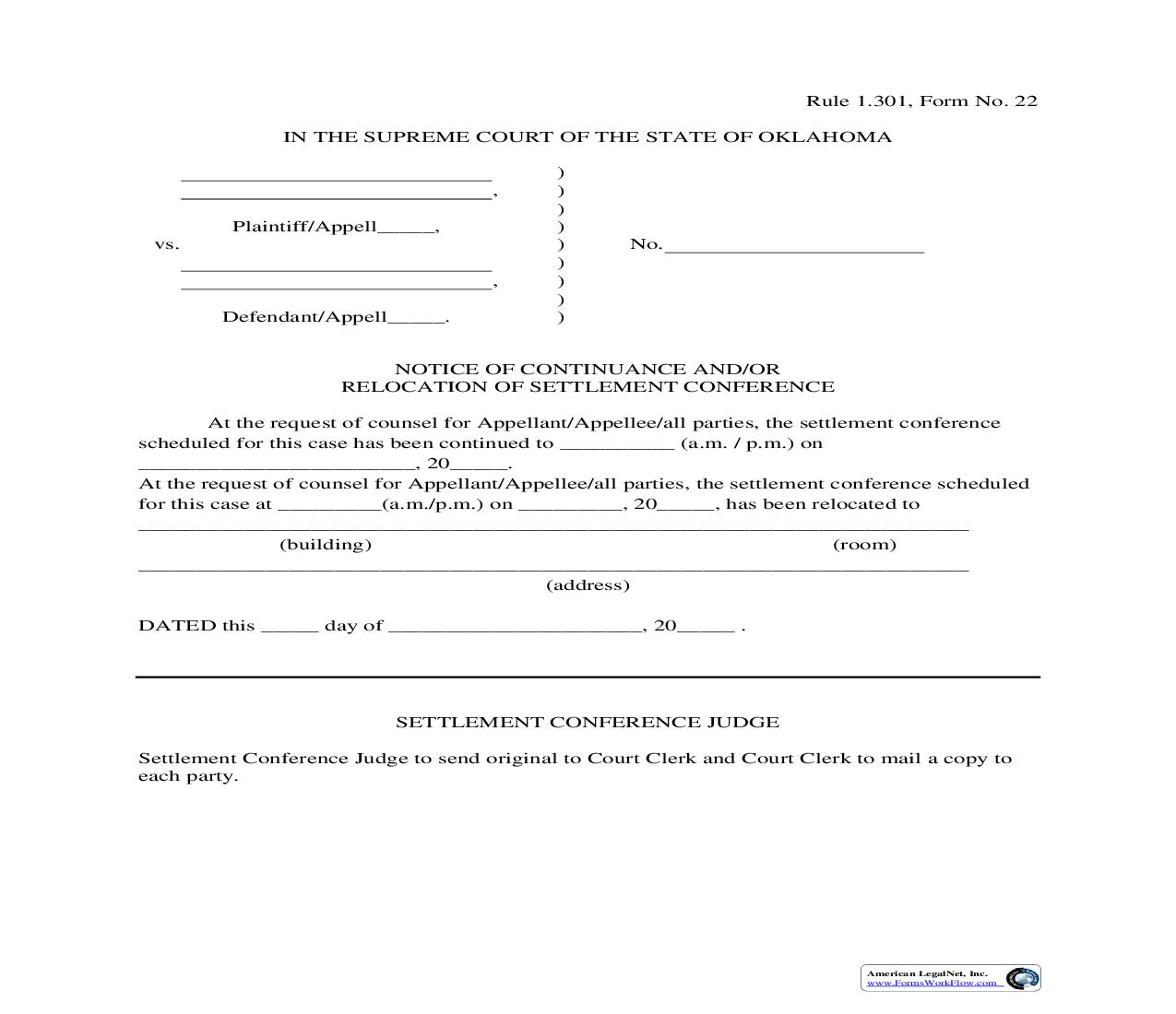 Notice Of Continuance And Or Relocation Of Settlement Conference {22} | Pdf Fpdf Doc Docx | Oklahoma
