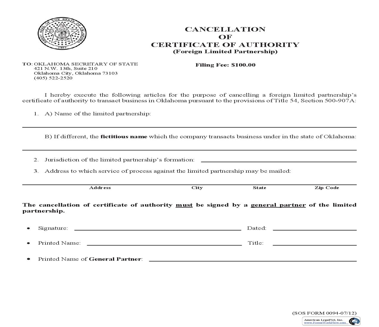 Cancellation Of Foreign Limited Partnership {0094} | Pdf Fpdf Doc Docx | Oklahoma