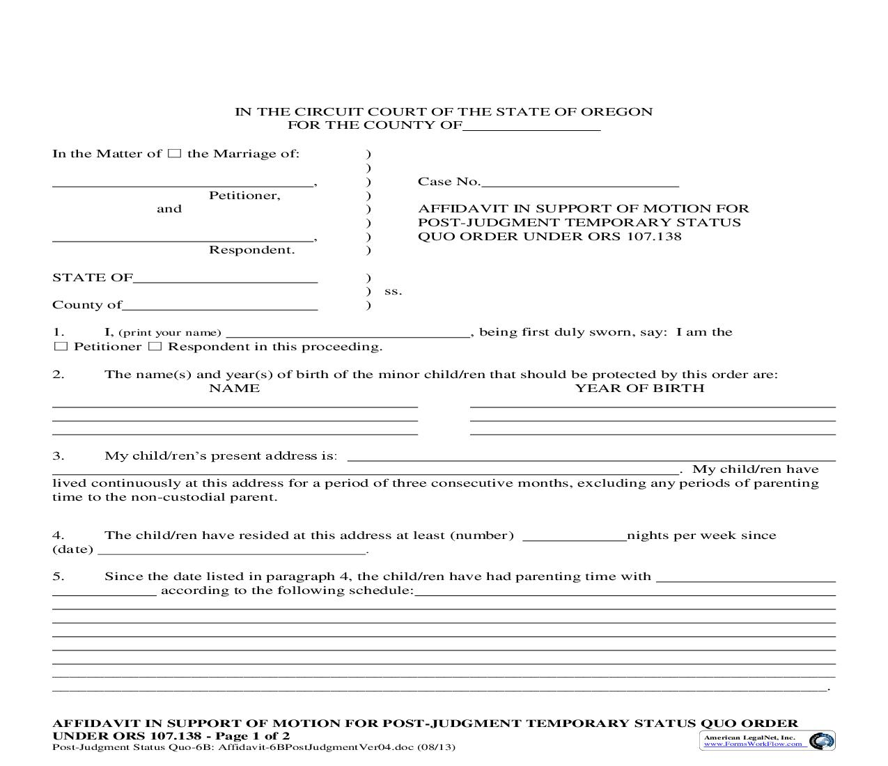 Affidavit In Support Of Motion For Post-Judgment Temporary Status Quo Order (6B) | Pdf Fpdf Doc Docx | Oregon