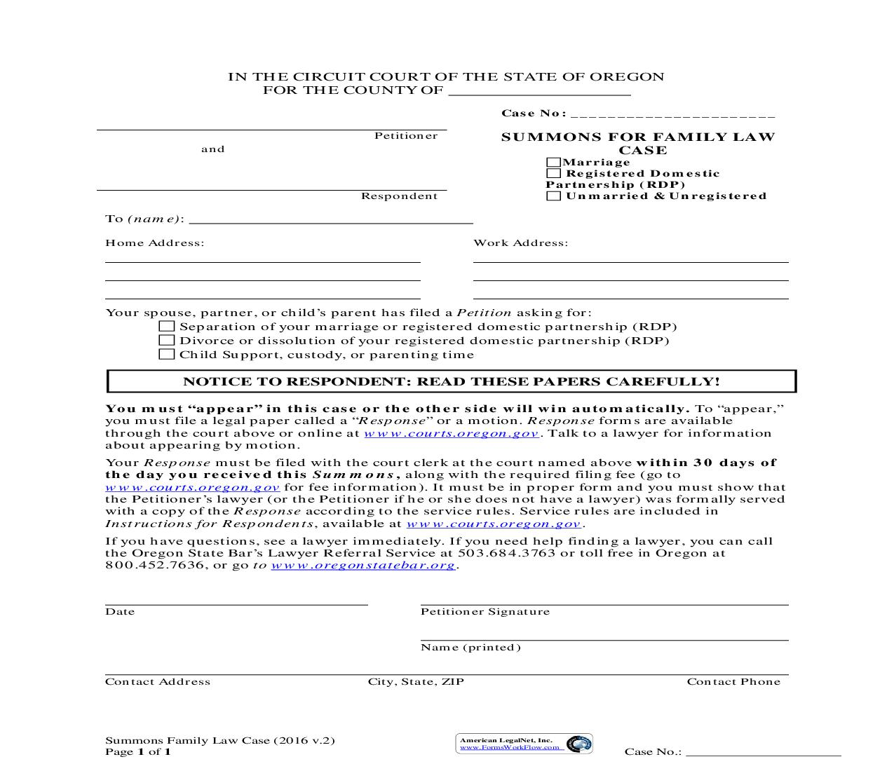 Summons (Domestic Relations Suit) (3A) | Pdf Fpdf Doc Docx | Oregon