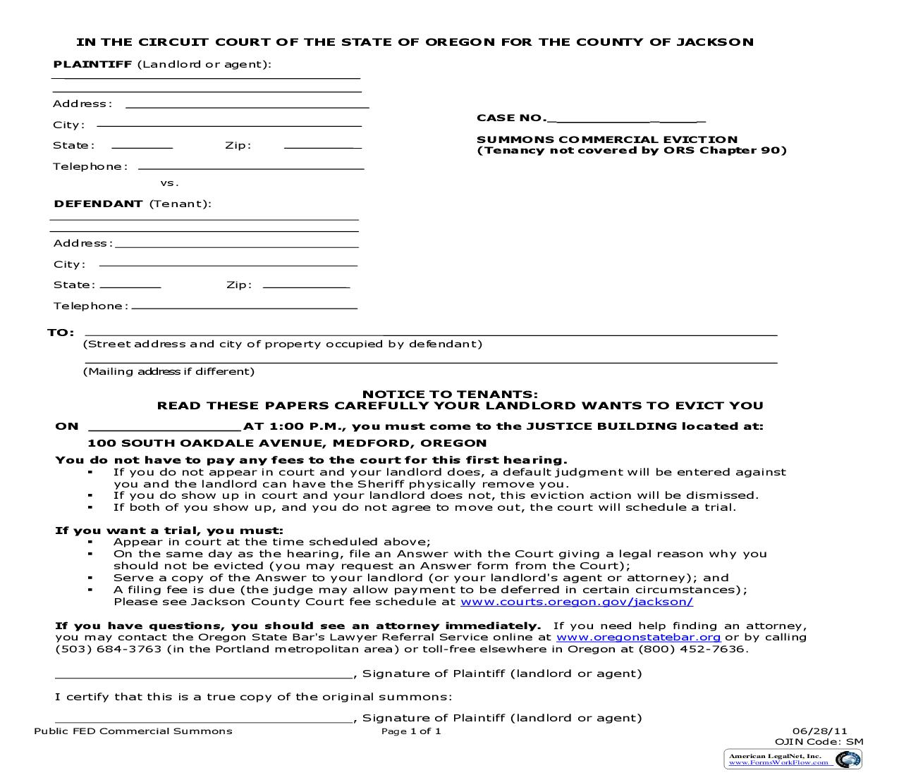 Summons Commercial Eviction | Pdf Fpdf Doc Docx | Oregon