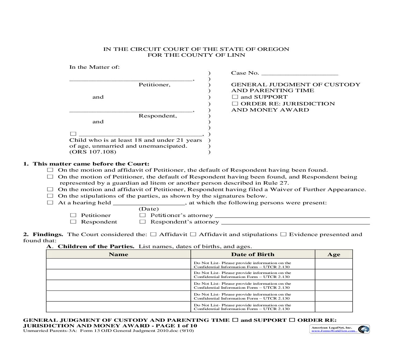General Judgement Of Custody And Parenting Time {13}   Pdf Fpdf Doc Docx   Oregon