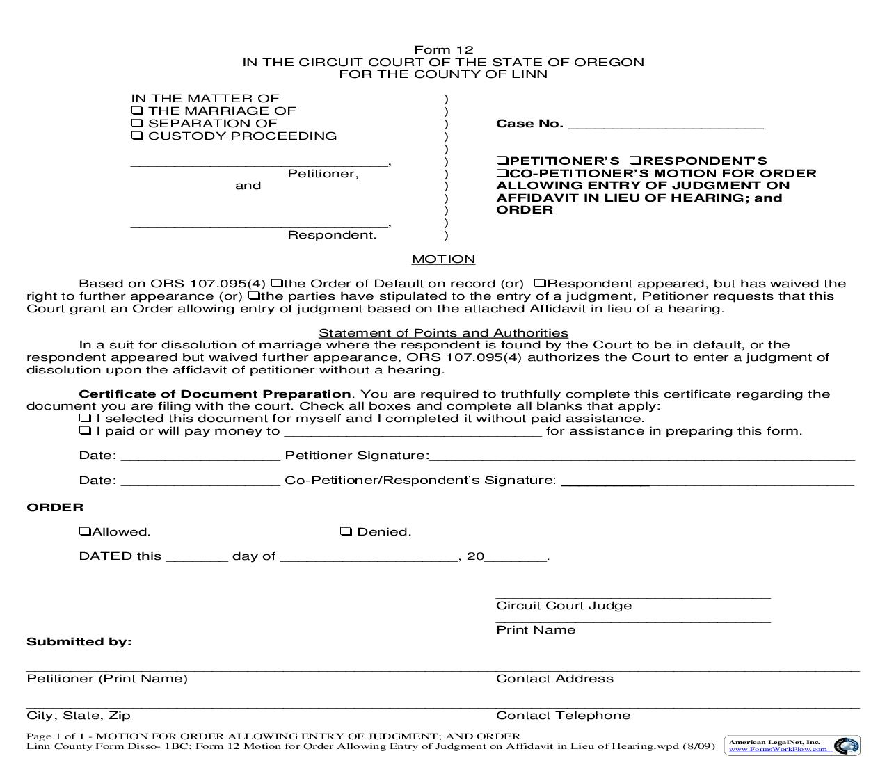 Motion for Order Allowing Entry Of Judgment On Affidavit In Lieu Of Hearing And Order {12} | Pdf Fpdf Doc Docx | Oregon