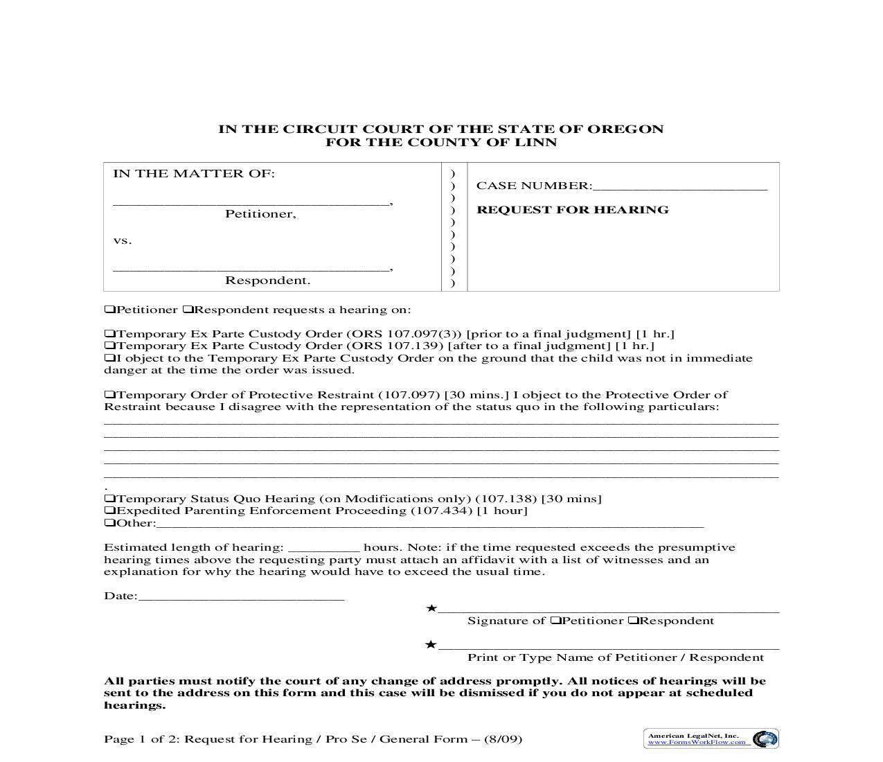 Request For Hearing   Pdf Fpdf Doc Docx   Oregon