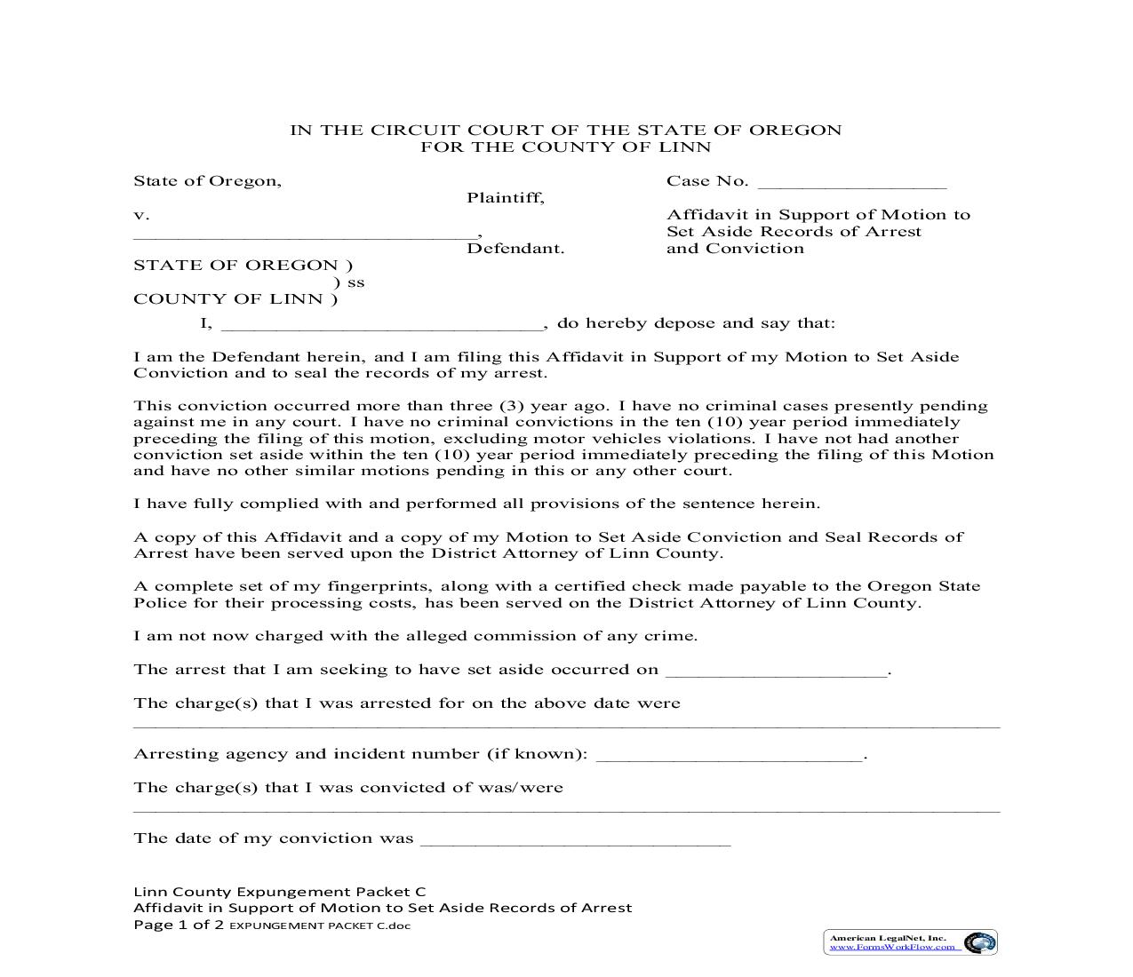 Affidavit In Support Of Motion To Set Aside Conviction And Seal Records Of Arrest {C} | Pdf Fpdf Doc Docx | Oregon