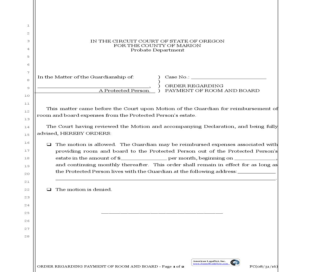 Order Regarding Payment Of Room And Board | Pdf Fpdf Doc Docx | Oregon