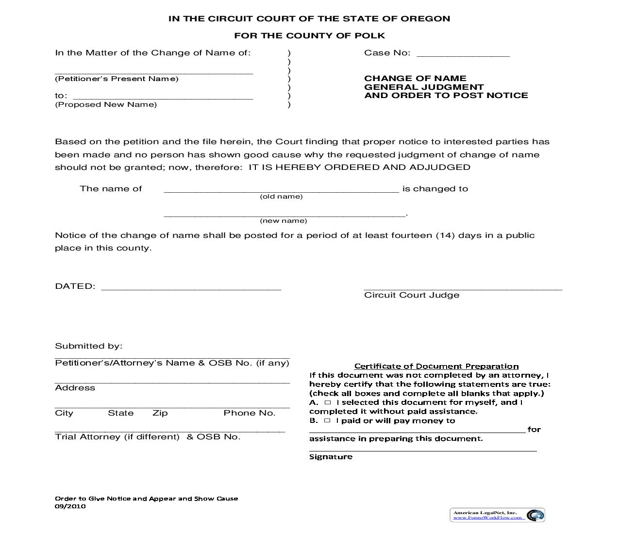 Change Of Name General Judgment And Order To Post Notice | Pdf Fpdf Doc Docx | Oregon