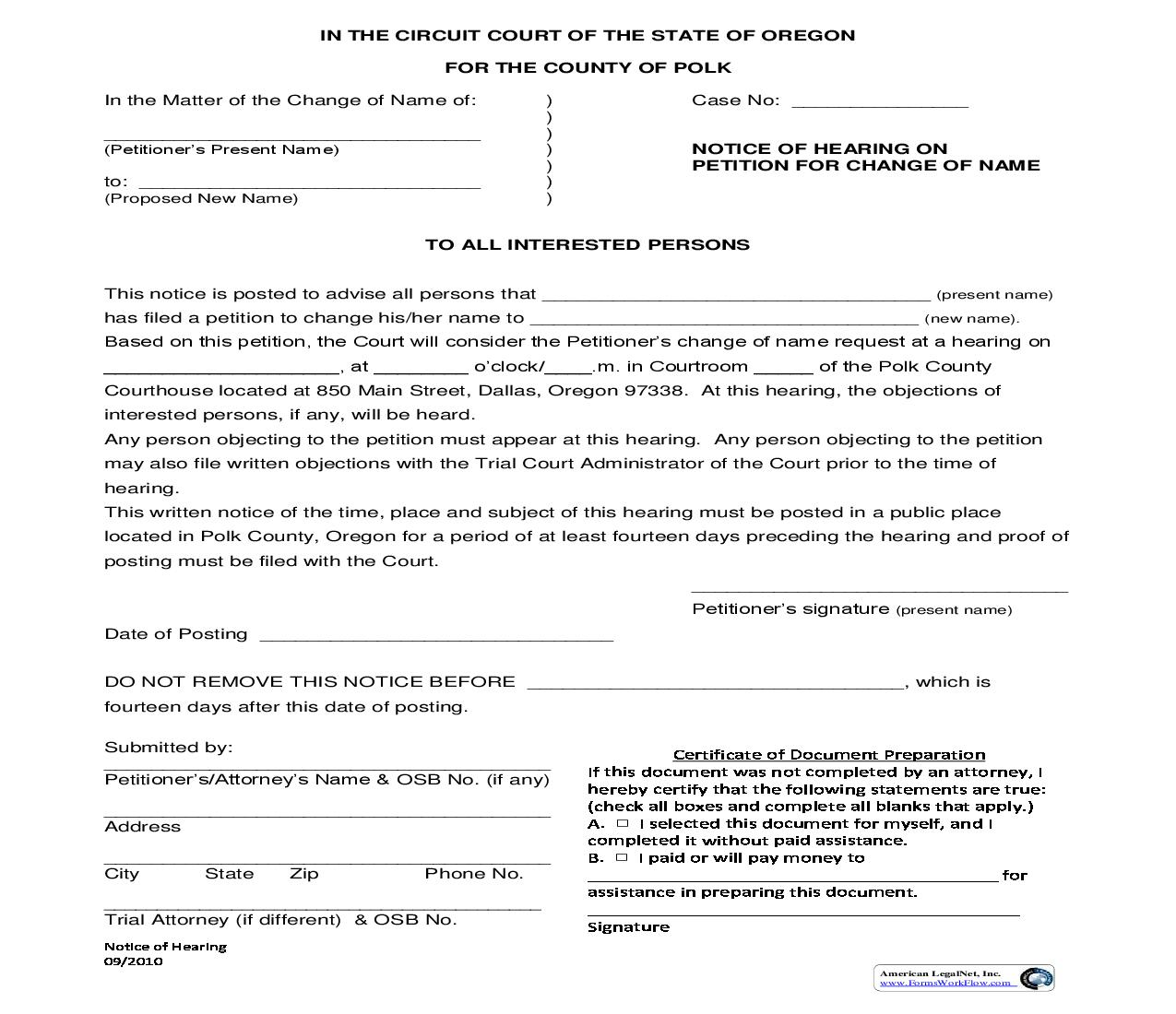 Notice Of Hearing On Petition For Change Of Name | Pdf Fpdf Doc Docx | Oregon