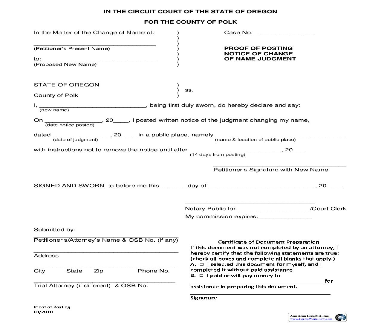 Proof Of Posting Notice Of Change Of Name Judgment | Pdf Fpdf Doc Docx | Oregon