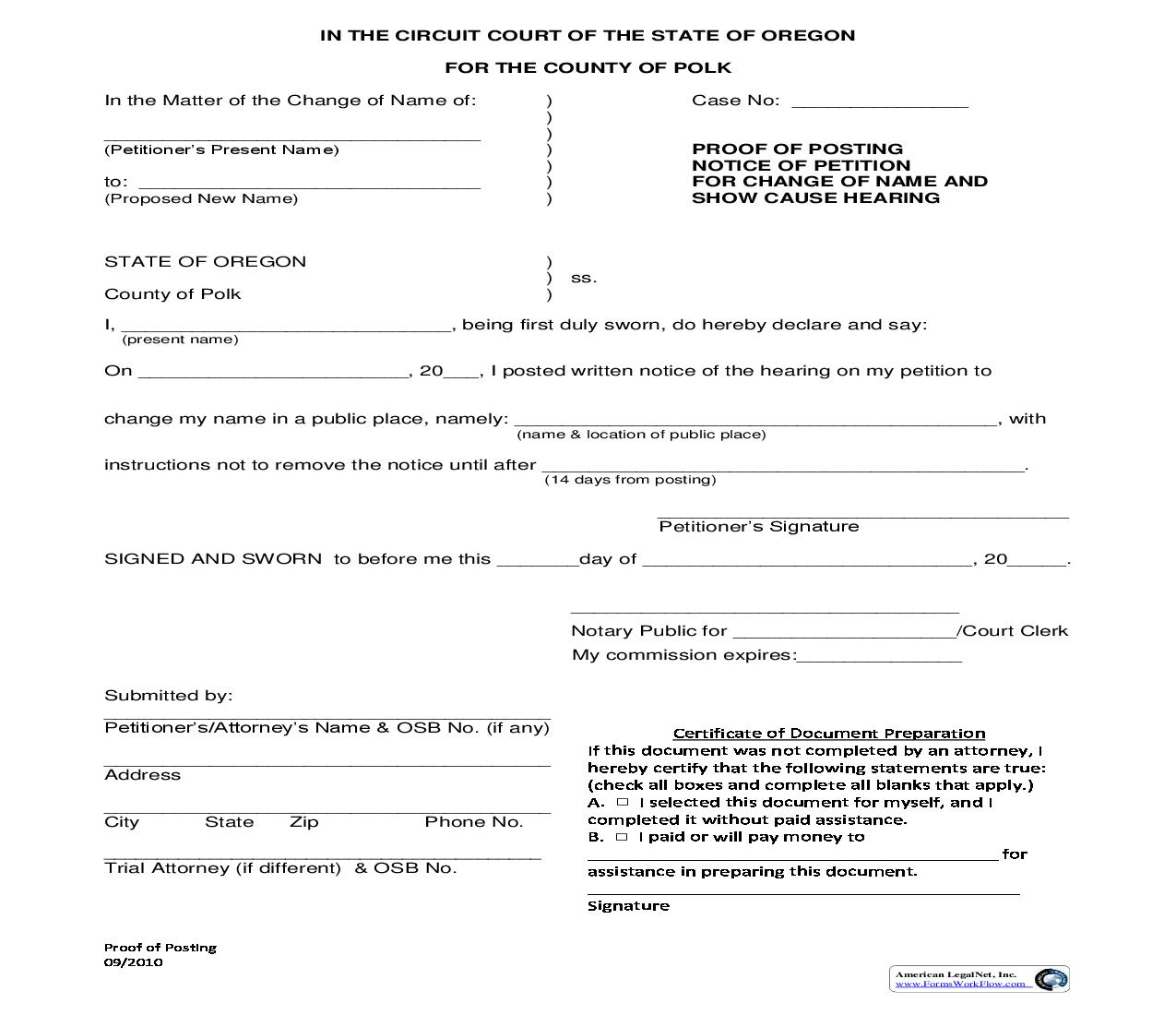 Proof Of Posting Notice Of Petition For Change Of Name And Show Cause Hearing | Pdf Fpdf Doc Docx | Oregon