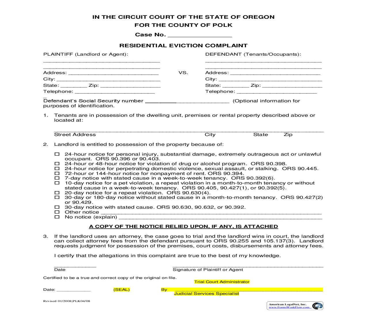 Residential Eviction Complaint | Pdf Fpdf Doc Docx | Oregon
