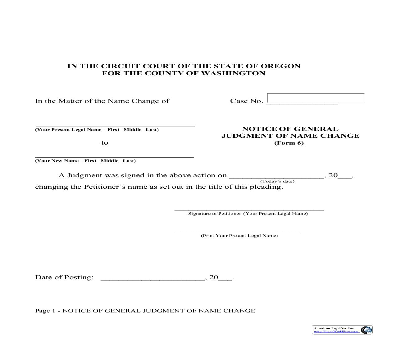 Notice Of General Judgment Of Name Change (Adult) {6}   Pdf Fpdf Doc Docx   Oregon