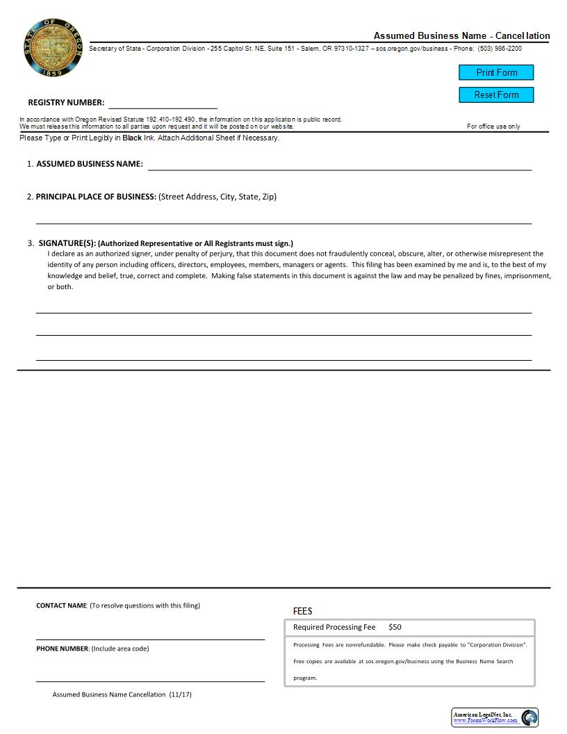 Assumed Business Name - Cancellation {03} | Pdf Fpdf Docx | Oregon