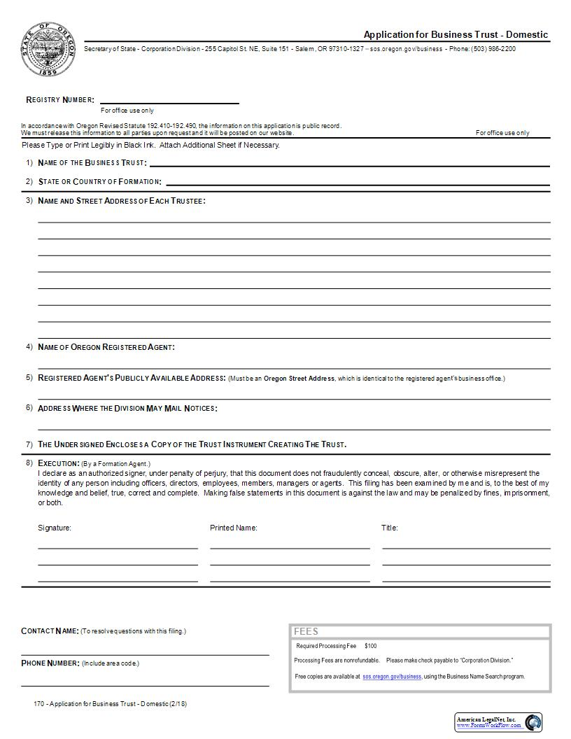 Application For Business Trust (Domestic) {170} | Pdf Fpdf Docx | Oregon