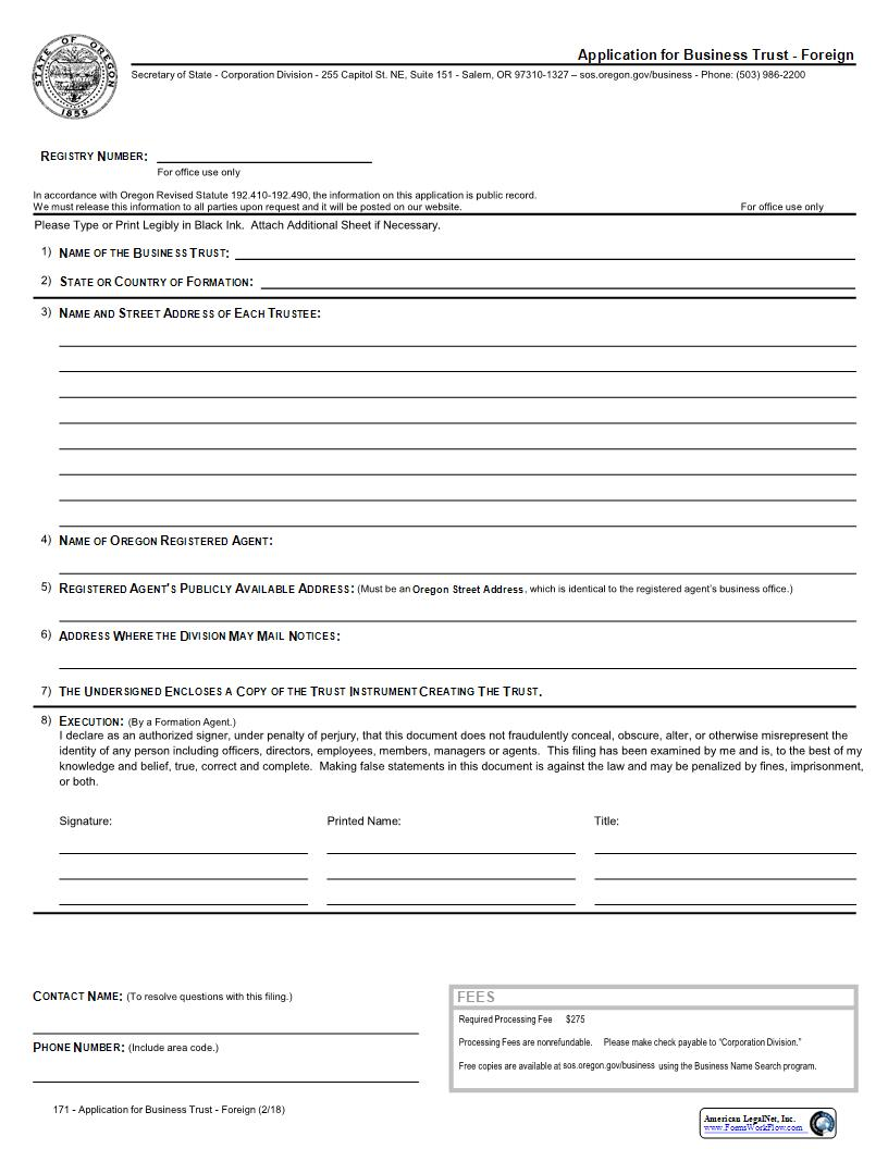 Application For Business Trust (Foreign) {171} | Pdf Fpdf Docx | Oregon