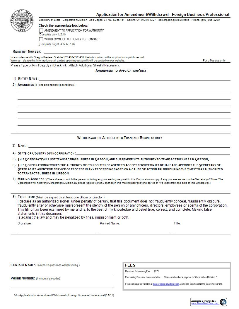Application For Amendment Or Withdrawal (Foreign Business Professional) {51} | Pdf Fpdf Docx | Oregon