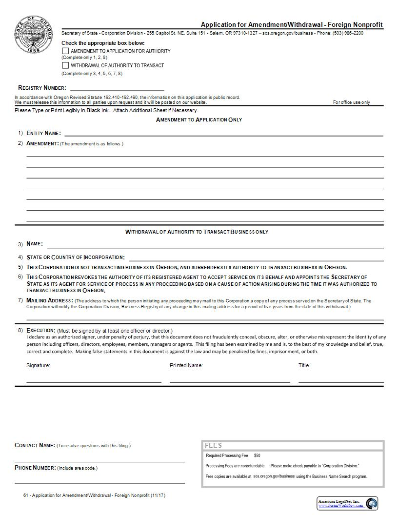 Application For Amendment Or Withdrawal (Foreign Nonprofit) {61}   Pdf Fpdf Docx   Oregon