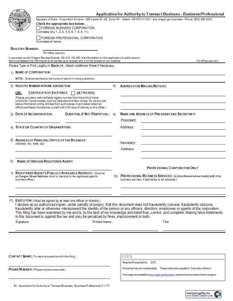 Application For Authority To Transact Business (Foreign Business Corp Or Foreign Professional Corp) {50} | Pdf Fpdf Docx | Oregon