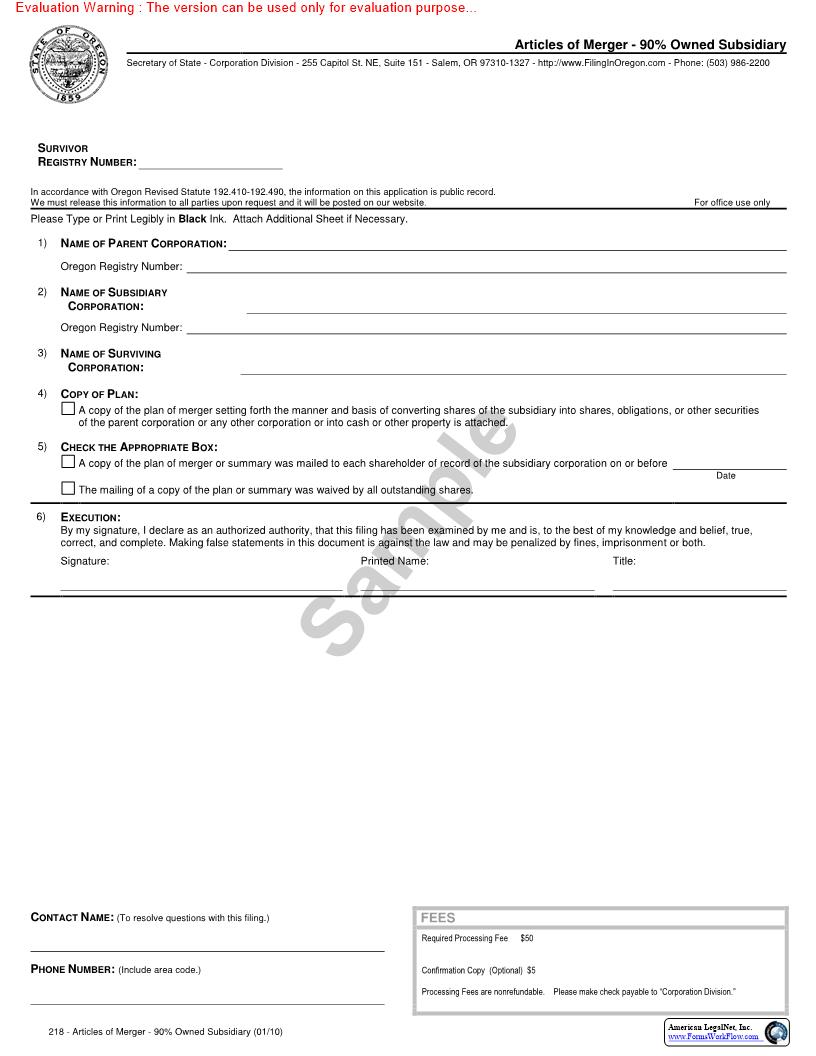 Articles Of Merger (90% Owned Subsidiary) {137} | Pdf Fpdf Doc Docx | Oregon