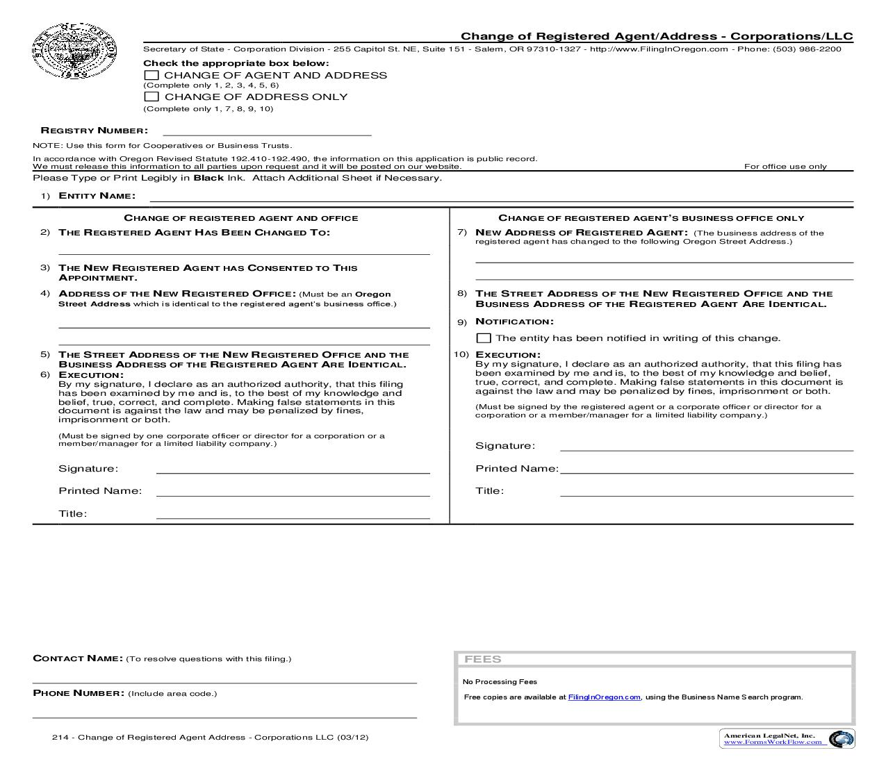 Change Of Registered Agent-Address (Corp Or LLC) {214} | Pdf Fpdf Doc Docx | Oregon