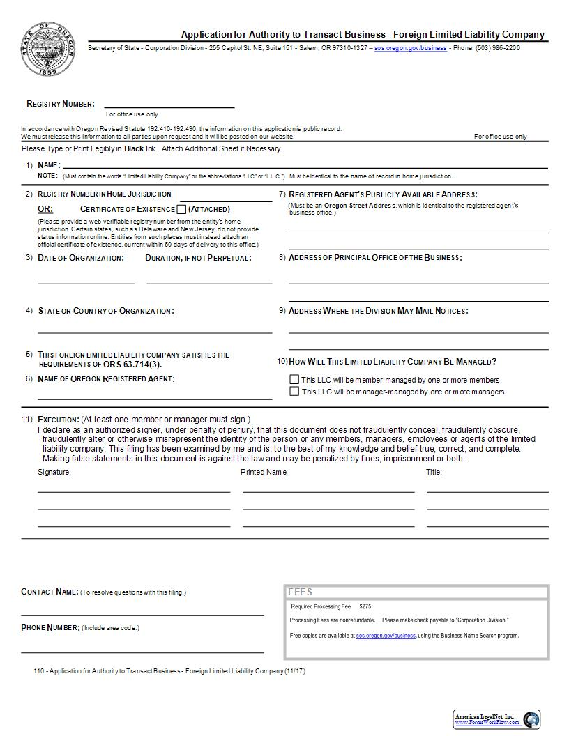 Application For Authority To Transact (Foreign LLC) {110} | Pdf Fpdf Docx | Oregon