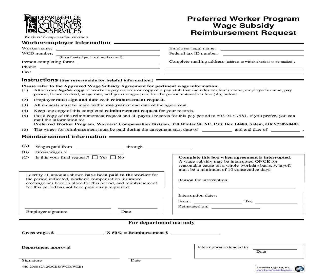 Preferred Worker Wage Subsidy Reimbursement Request {2968} | Pdf Fpdf Doc Docx | Oregon