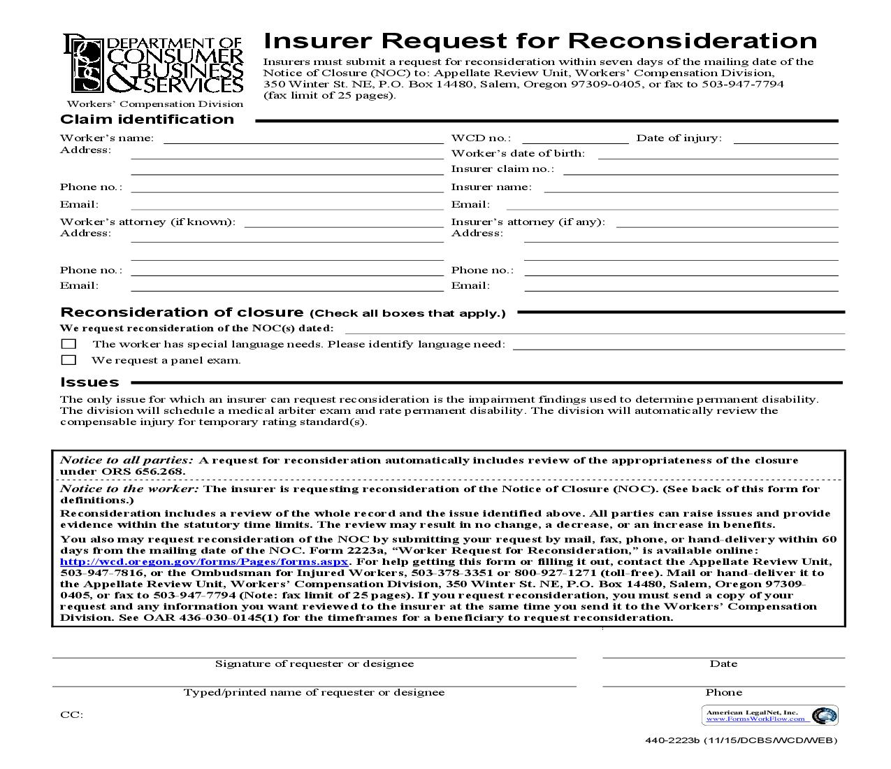 Insurer Request For Reconsideration {2223b} | Pdf Fpdf Doc Docx | Oregon