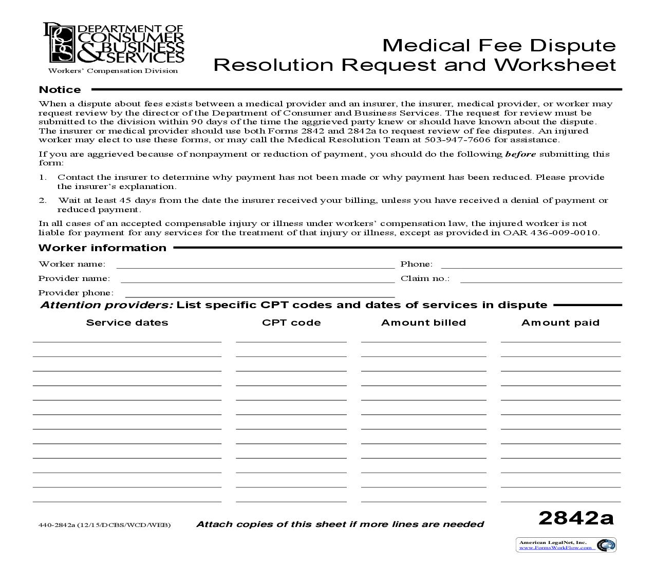 Medical Fee Dispute Resolution Request And Worksheet {2842A} | Pdf Fpdf Doc Docx | Oregon