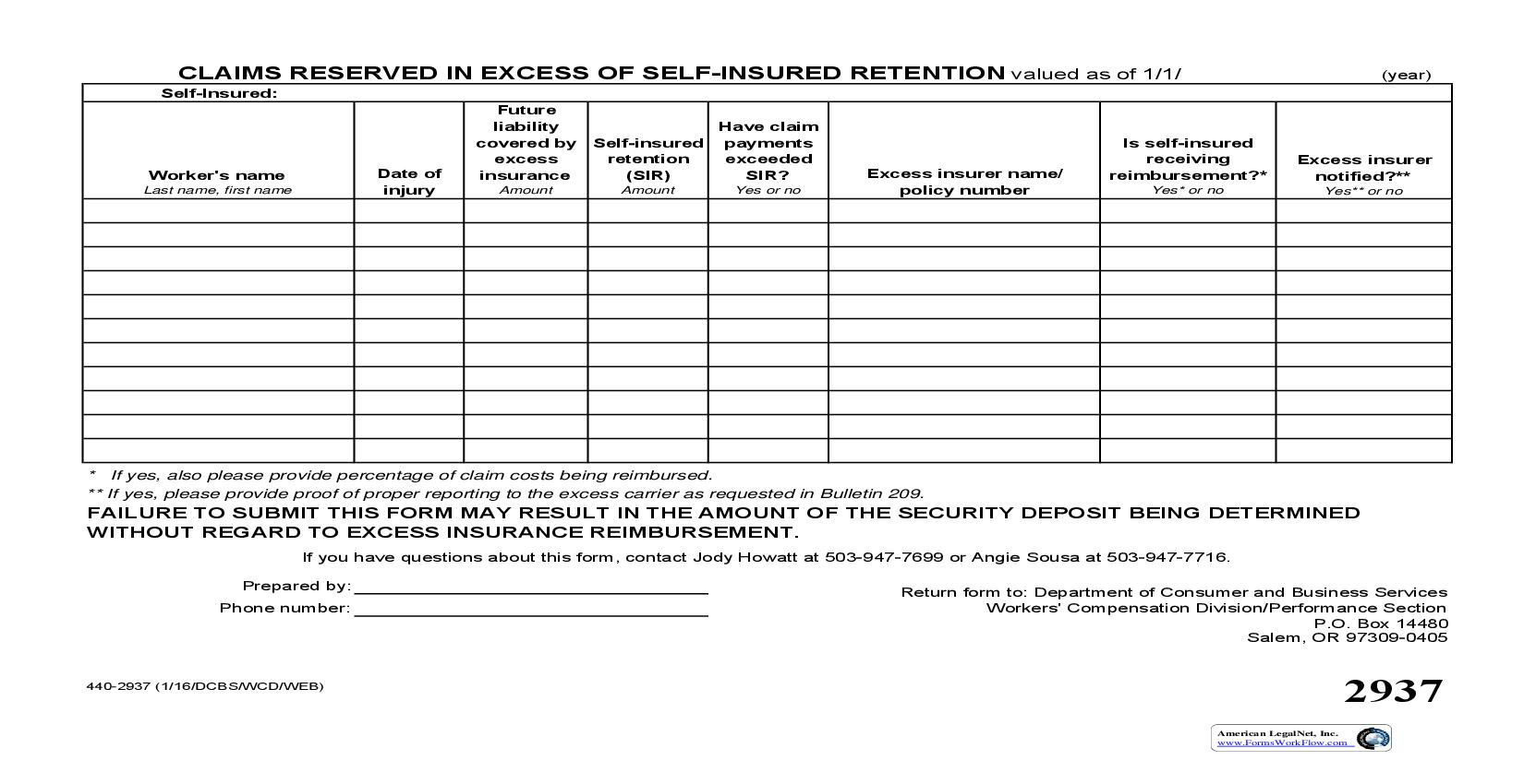 Claims Reserved In Excess Of Self-Insured Retention {2937} | Pdf Fpdf Doc Docx | Oregon