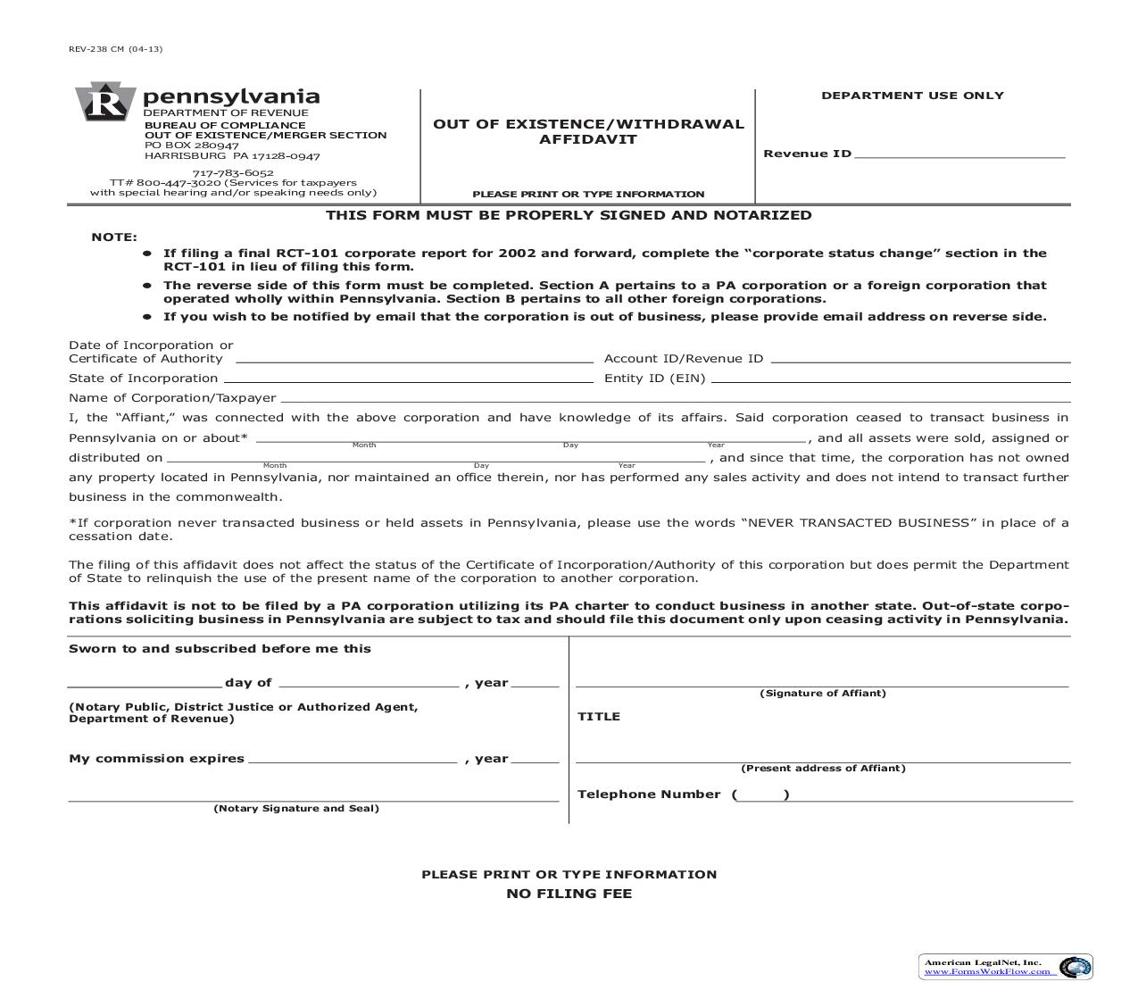 Out Of Existence Withdrawal Affidavit {REV-238} | Pdf Fpdf Doc Docx | Pennsylvania