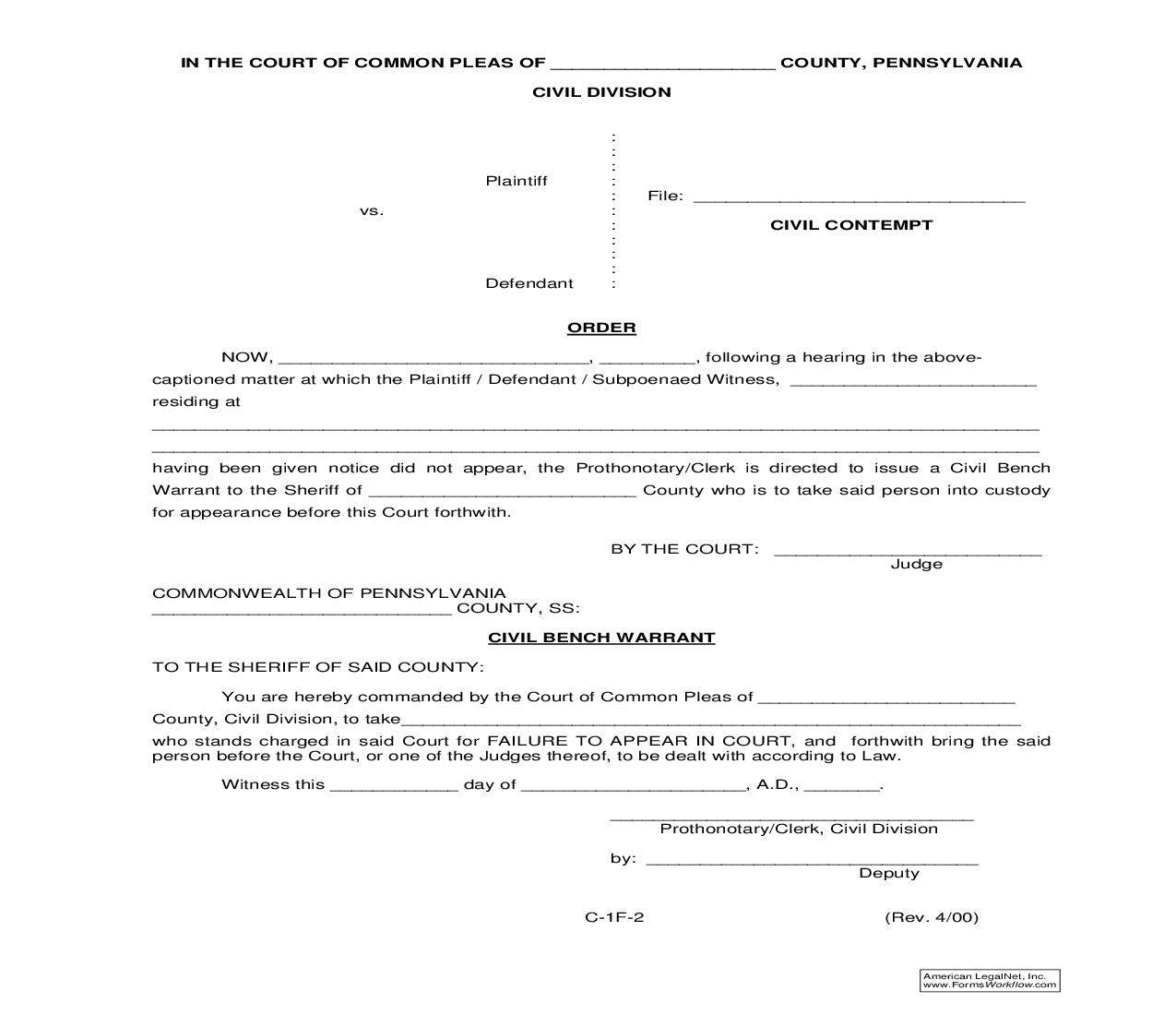 Order (Civil Contempt) {C-1F-2} | Pdf Fpdf Doc Docx | Pennsylvania