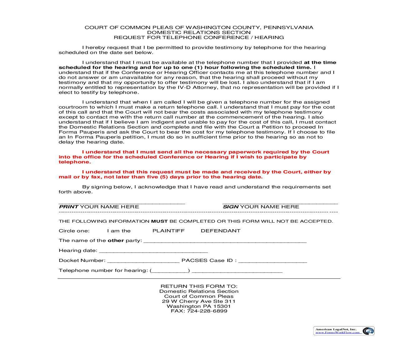 Request For Telephone Conference Or Hearing   Pdf Fpdf Doc Docx   Pennsylvania