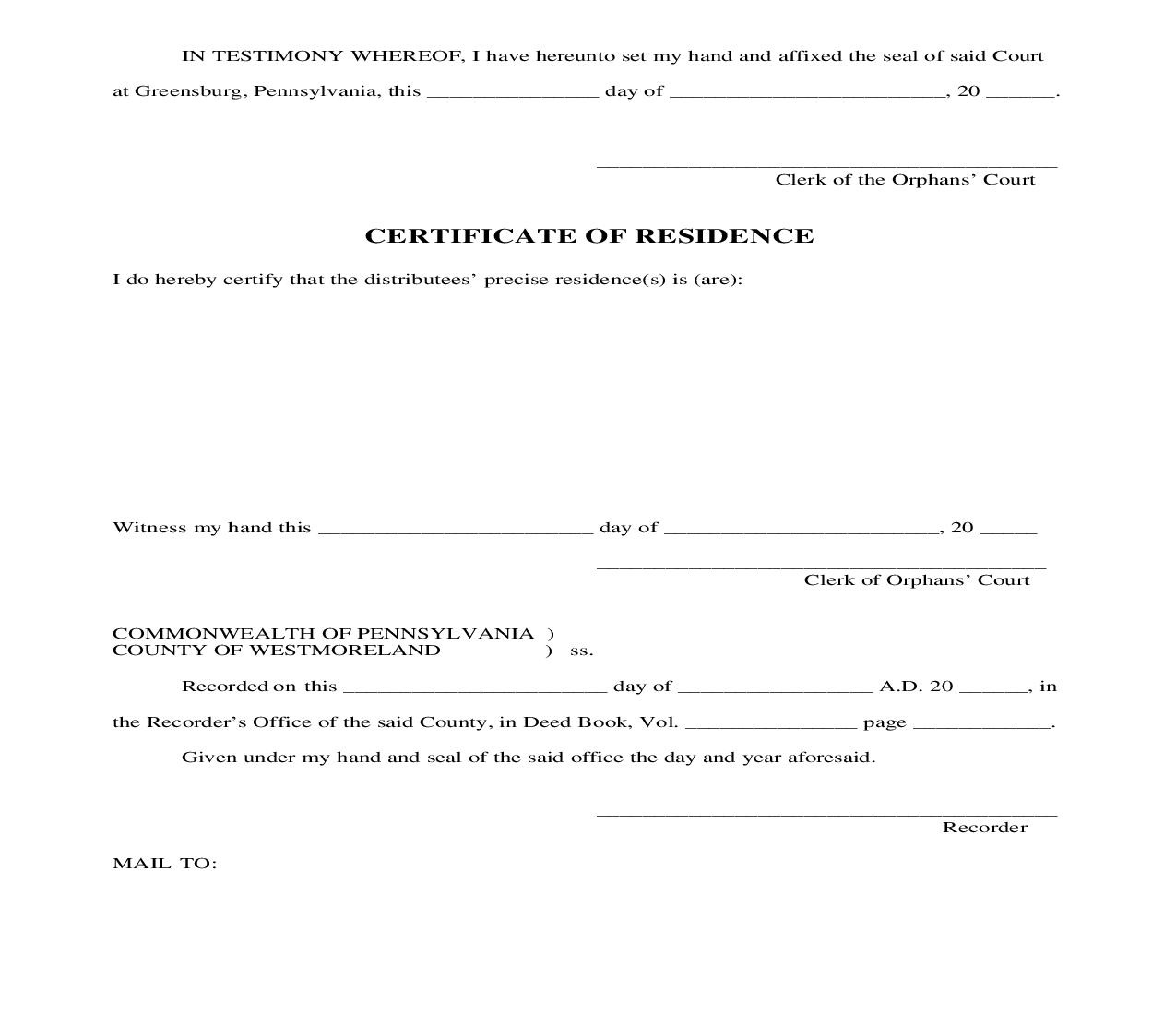Certificate Of Residence | Pdf Docx | Pennsylvania
