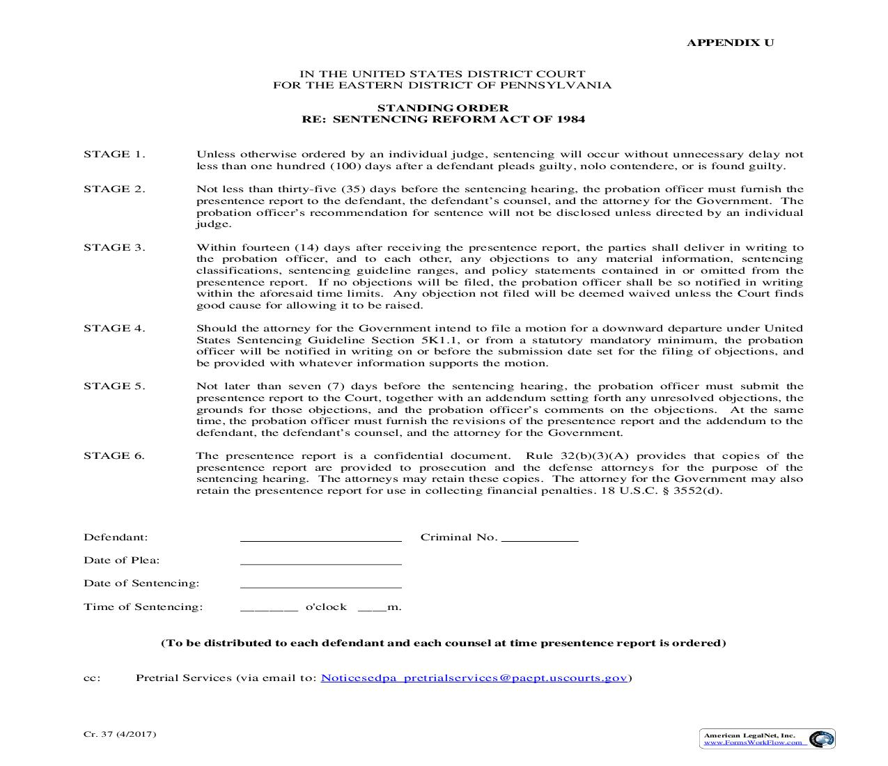 Standing Order Re Sentencing Reform Act Of 1984 {CR 37} | Pdf Fpdf Doc Docx | Pennsylvania