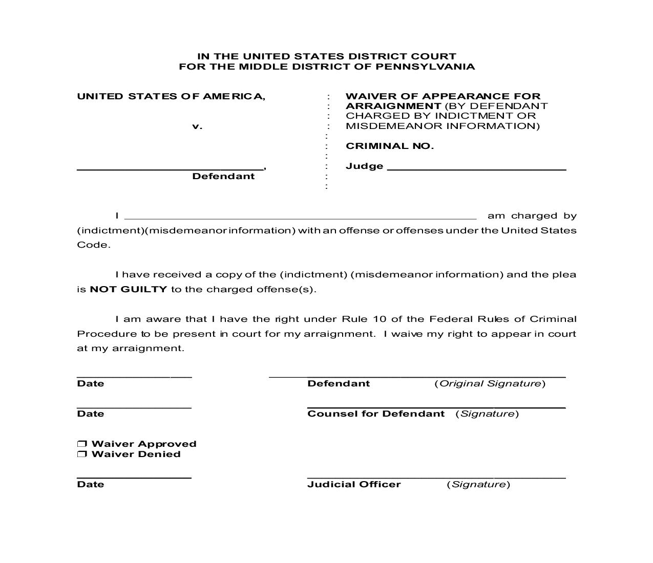 Waiver Of Appearance For Arraignment | Pdf Fpdf Doc Docx | Pennsylvania