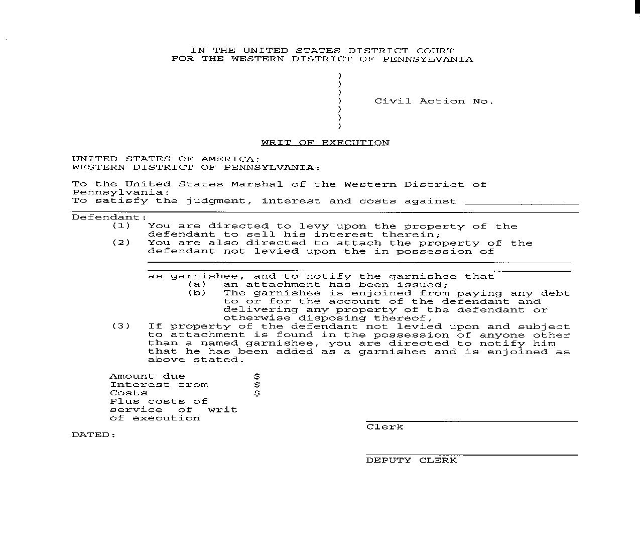 Writ Of Execution (Property) | Pdf Fpdf Doc Docx | Pennsylvania