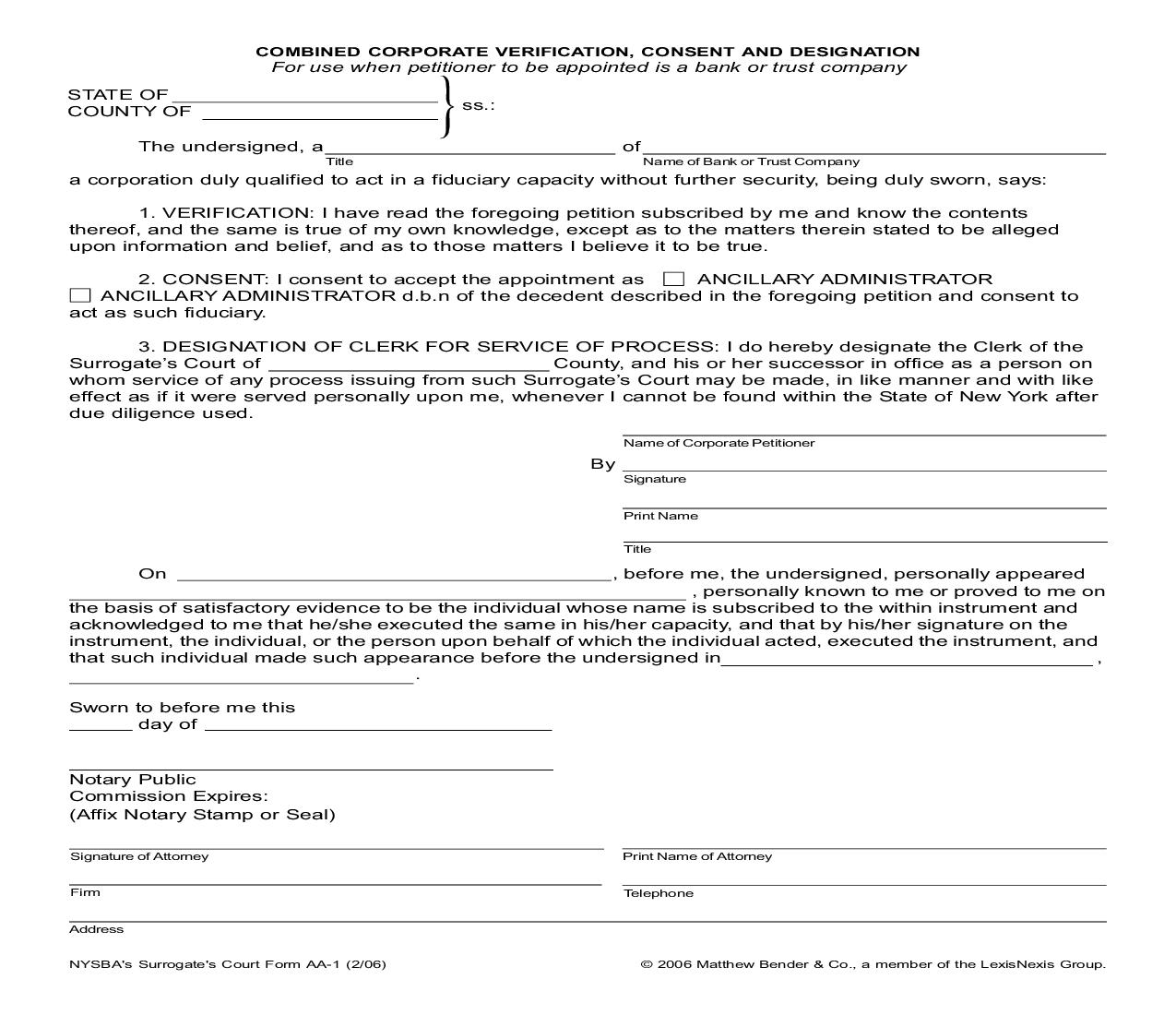 New Combined Corporate Verification Consent And Designation (Outside New York) {AA-1} | Pdf Doc Docx | SNR Denton