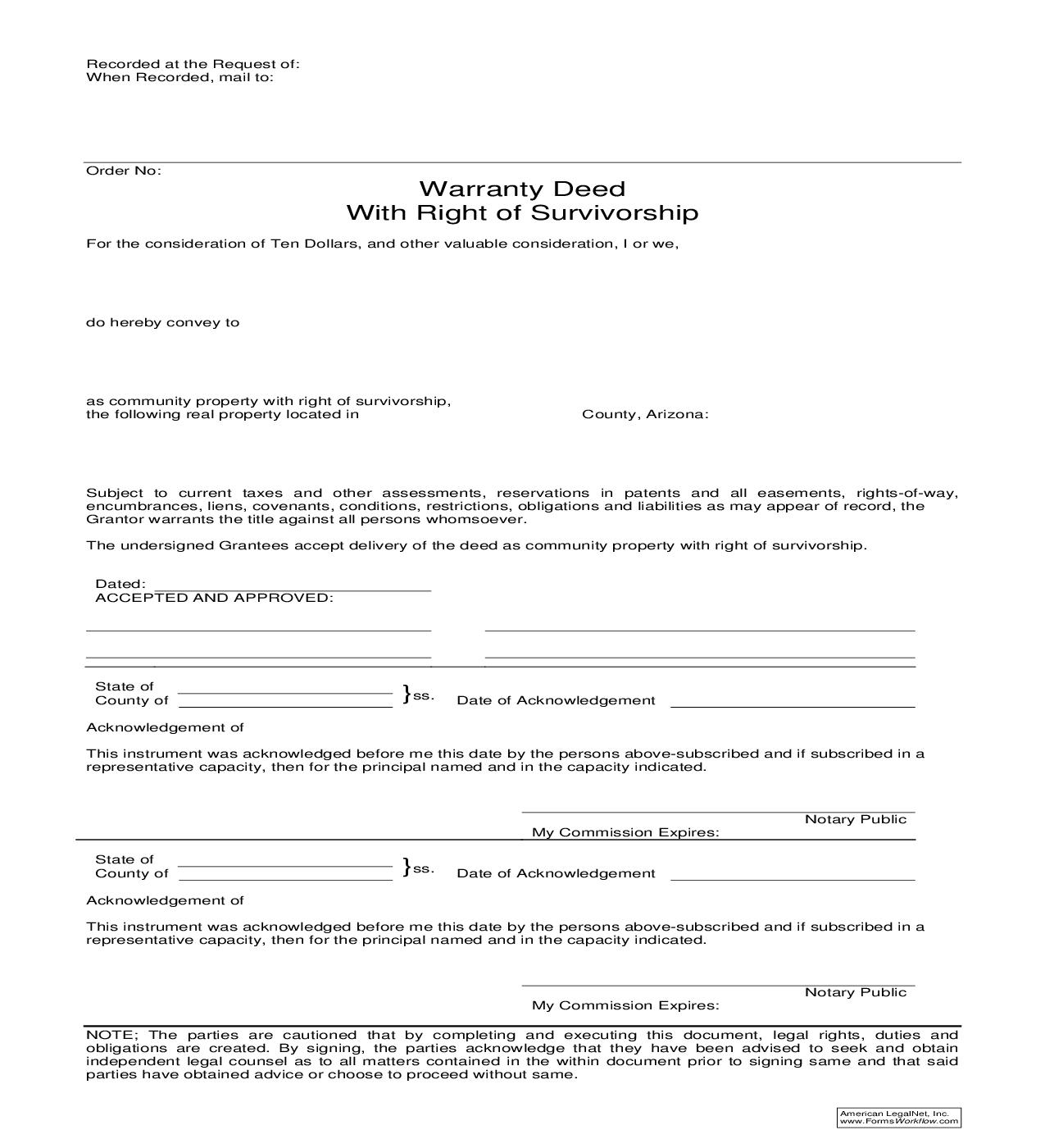 Warranty Deed With Right Of Survivorship | Pdf Fpdf Doc Docx | Sandberg Phoenix