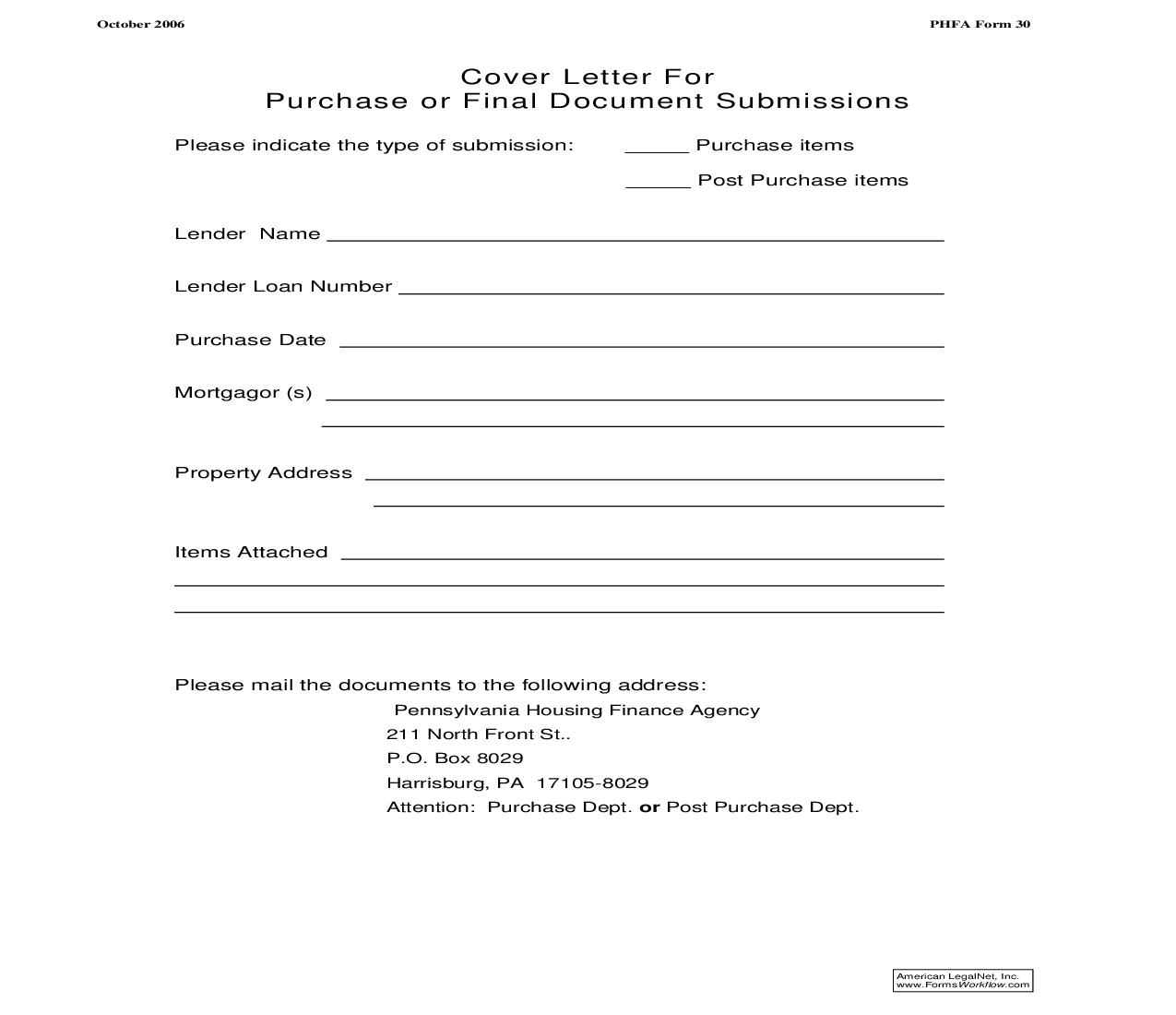 Cover Letter For Purchase Or Final Document Submissions {PHFA-30} | Pdf Fpdf Doc Docx | Sandberg Phoenix