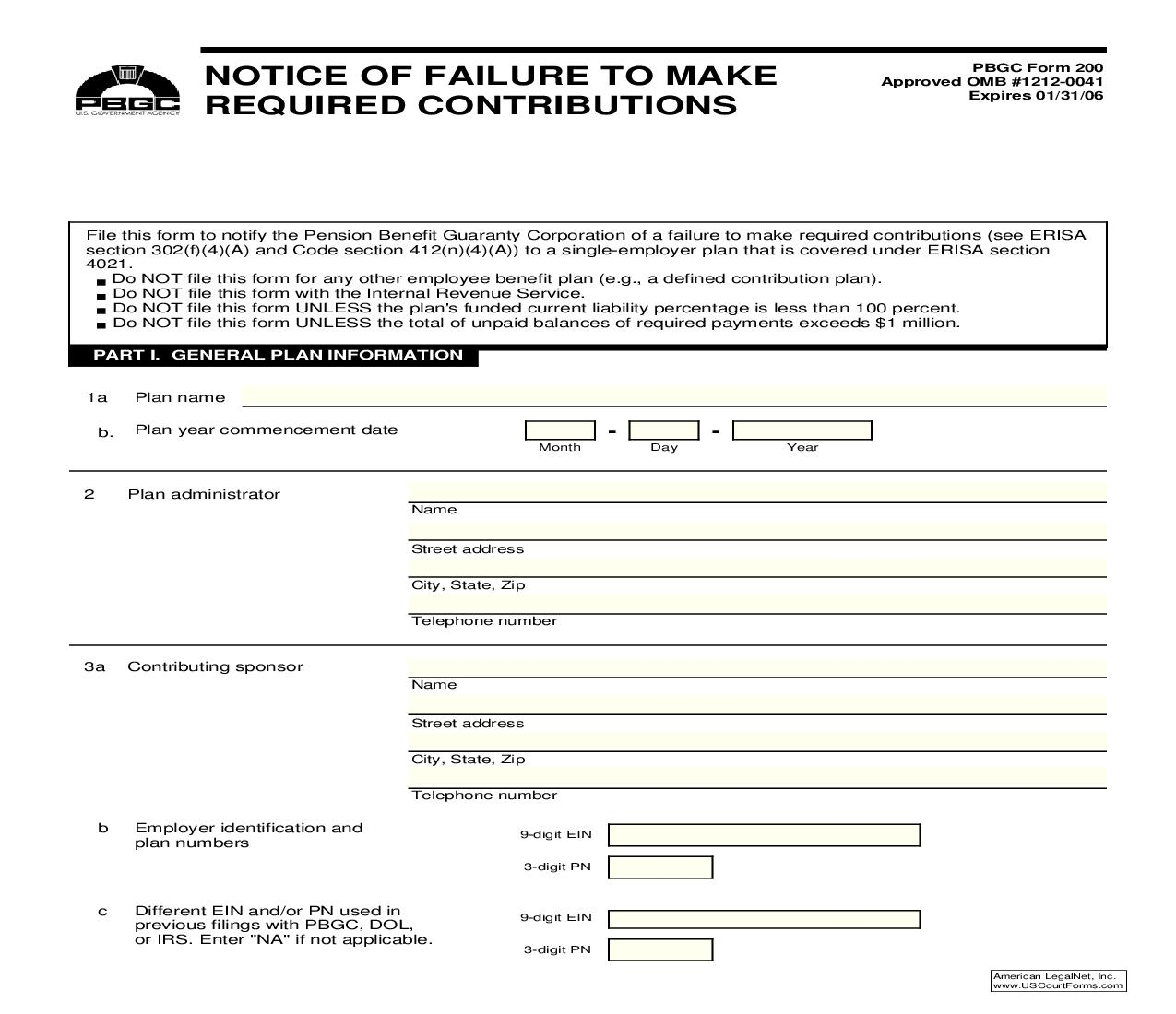 Notice Of Failure To Make Required Contributions {PBGC 200} | Pdf Fpdf Doc Docx | Skadden