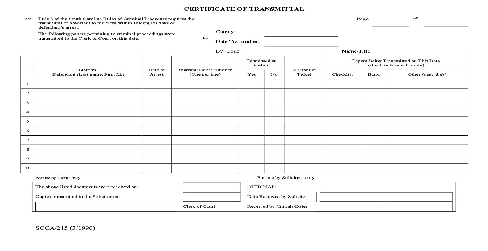 Certificate Of Transmittal {SCCA-215} | Pdf Fpdf Doc Docx | South Carolina