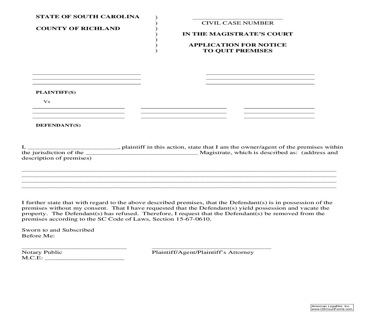 Application For Notice To Quit Premises | Pdf Fpdf Doc Docx | South Carolina